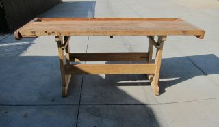 1940s Carpenters Workbench Kitchen Island Table photo
