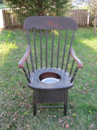 1850 Circa Antique Potty Chair Commode Arm High Back photo