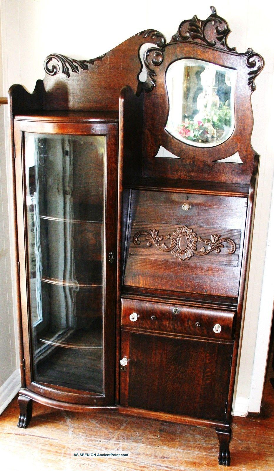 Gorgeous American Antique Drop Front Oak Secretary Desk Side By Side  Bookcase - Gorgeous American Antique Drop Front Oak Secretary Desk Side By Side