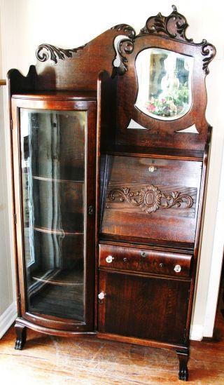 Gorgeous American Antique Drop Front Oak Secretary Desk Side By Side Bookcase photo