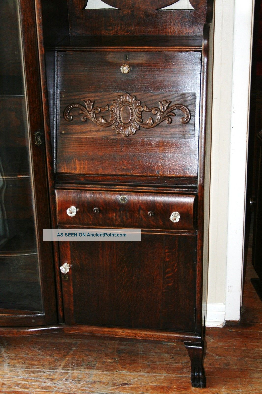 Antique Drop Front Secretary Desk With Hutch Antique