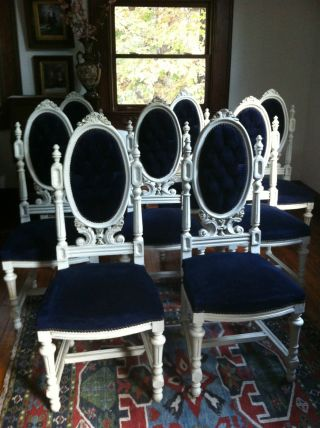 Eight Italian White Painted Mahogany Dining Chairs - 1890s photo