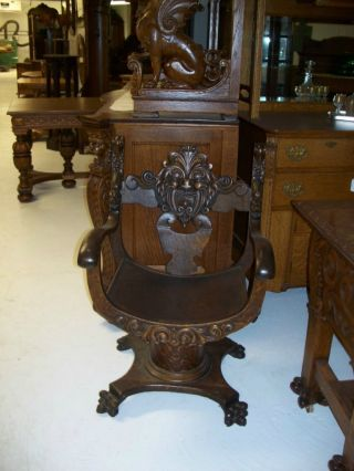Antique American Quarter Sawn Oak Clawfeet Carved Throne Chair Originial Finish photo