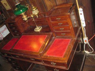 Antique Large English Oak Writting Desk All photo