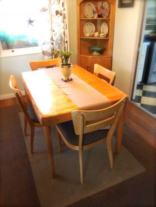 Vintage 1950s Heywood Wakefield Dining Table And Chairs Mid Century Modern photo
