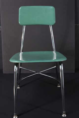 Hey Woodite Heywood Wakefield Hw Chrome Student Chair Green Plastic Mid Century photo