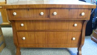 Vintage Antique Dresser W/ Dovetail Drawers Porcelain Handles Empire Age 1920 - 30 photo
