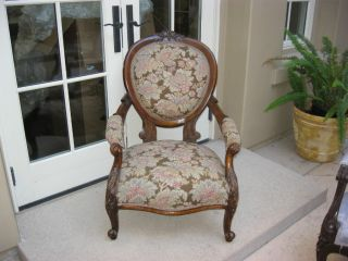 Antique Victorian Floral Sitting Arm Chair With Carved Details photo
