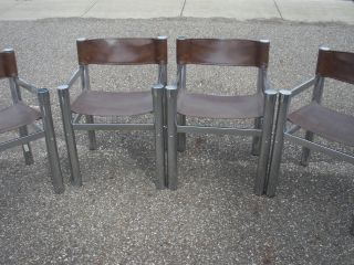Vintage Wassily Style Sling Chairs Chrome Set 2 photo