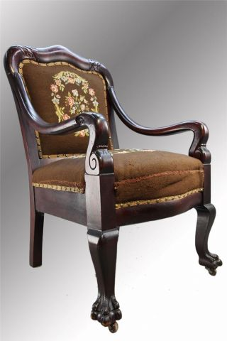 15940 Antique Mahogany Needlepoint Claw Foot Arm Chair photo