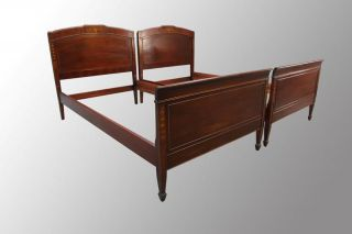 15904 Antique Pair Of Mahogany Inlaid Twin - Size Beds photo