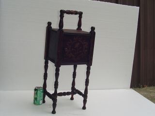 Vintage Smoking Stand Antique Wood Table Metal Lined W/ Carry Handle Cigar photo