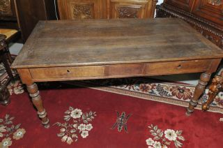 French Country Farm Table Solid Oak Circa 1920 photo