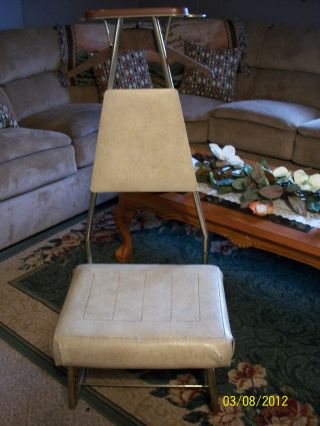 Vtg Antique Blonde Faux Leather Pearlwick Valet Butler Chair Early 1900 ' S photo