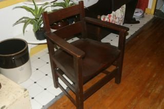 Antique Mission Oak Arts Crafts Heavy Mortise Tenon Quarter Sawn Deep Seat Chair photo
