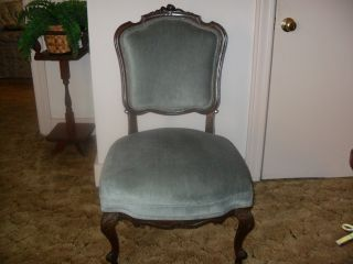 American Victorian French Style Carved Mahogany Parlor Side Chair photo