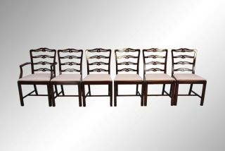 15898 Antique Set Of Six Ribbon Back Chippendale Dining Chairs photo