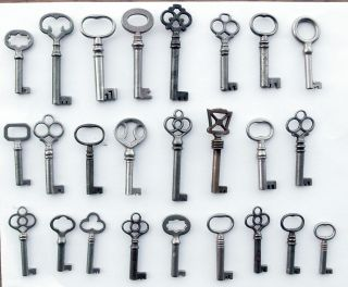 25 Antique Furniture Keys Cabinet Keys Barrel Keys photo