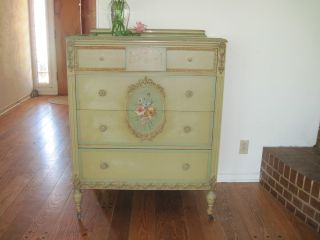 Gorgeous Antique Hand Painted Floral Dresser W/carved Garland Detailing C1930 photo