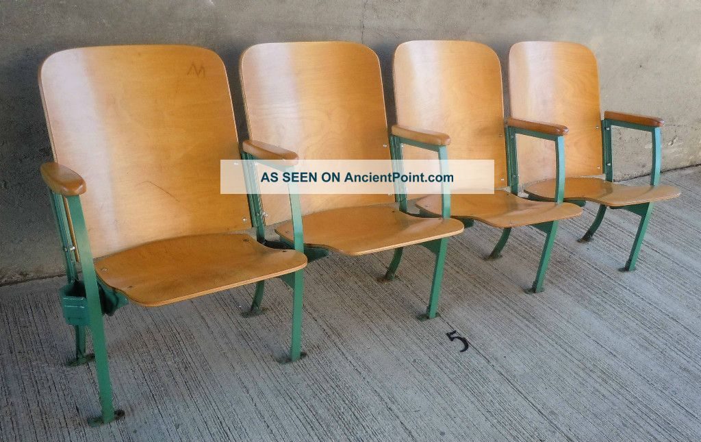 5 Vtg Set Of 4 Theater Movie Entertainment Auditorium Maple Wood Seats Seating Post-1950 photo