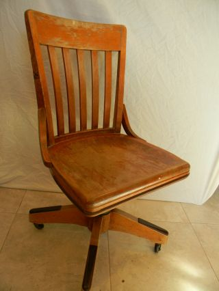 Antique Banker Office Chair Finish B.  L.  Marble Chair Co. photo