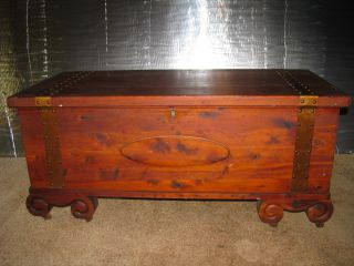 Antique Solid Cedar Blanket Chest - - Circa 1931 - - Copper Bands Fancy Cedar Foe photo