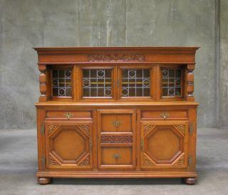 55142 - 3 : Large Oak Belgium Tudor Sideboard Buffet photo