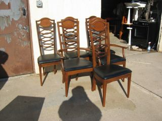 6 Danish Modern High Ladder Back Chairs photo