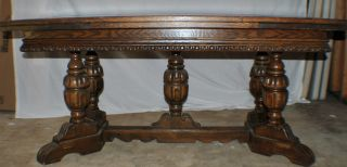 Awesome Estate Find Unique Ornately Carved Oak Dining Table And 6 Chairs. photo