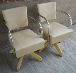 Pair Modecraft Chrome Vinyl Chairs W/solid Oak Base photo