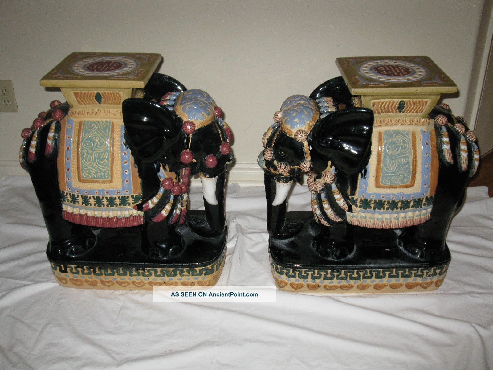 (pair) 2 Vtg Elephant Ceramic Garden Stool Table Hollywood Regency Mid - Century Post-1950 photo