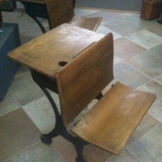 Silent Giant Antique Oak Student School Desk With Cast Iron Base photo
