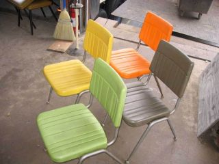 1950 ' S Vintage Retro Cafeteria Chairs - Heavy Duty Plastic And Steel photo