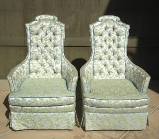 Pair Of Two Vintage Green Silk Brocade Arm Chairs French Provincial Style photo