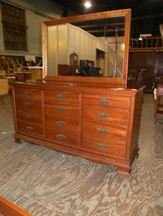 Antique Solid Cherry Bedroom Set Dresser Mirror Chest photo