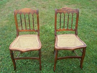 Antique Cane Seat Chairs 2 photo