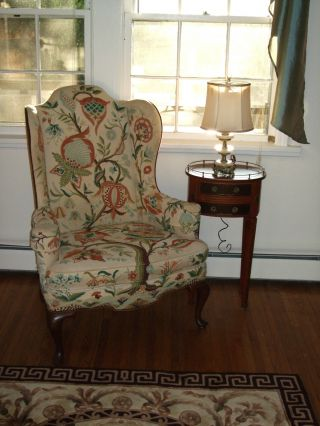 Vintage Ethan Allen Georgian Court Wing Back Chair Have The Pair Too Crewel photo