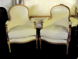 Pair Of Antique French Louis Xvi Polychrome Fauteuils Bergere's Chairs photo