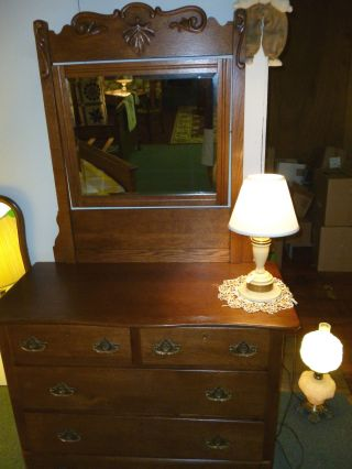 Antique Oak Dresser Vanity,  Bureau With Beveled Mirror Refinished Orig.  Drawer photo