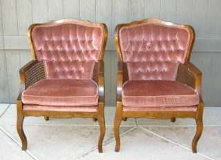 Pair Vintage Mid Century Modern Cane Wingback Rose Arm Chairs French Provincial photo
