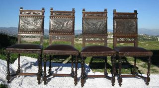 Set Of 4 Antique Renaissance Style Dragon Motif Tooled French Leather Chairs photo