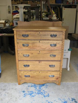 Antique Oak 5 Drawer Dresser photo