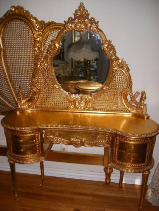 Antique French Louis Xiv St Carved Caned Gilt Wood 5 Pc Bedroom Set photo