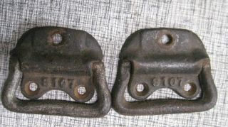 Two Old Cast Iron Trunk Or Carpenters Chest Handles Farm Fresh photo