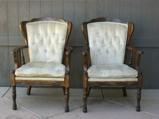 Pair Vintage French Provincial Wingback Cane White Velvet Arm Chairs photo