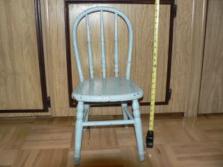 Antique Primitive Blue Paintd Wood Child ' S Chair Hoopback Windsor photo