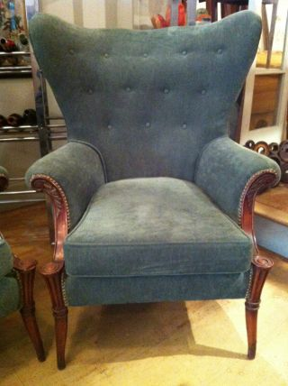 Vintage Tufted Wing Back Chairs Newly Upholstered Clean Library Cigar Pair photo