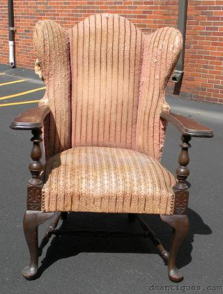 Antique Victorian Solid Mahogany Queen Anne Wing Chair photo
