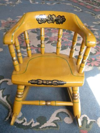 Antique Wood Child Rocking Chair Stencil Mustard Yellow photo