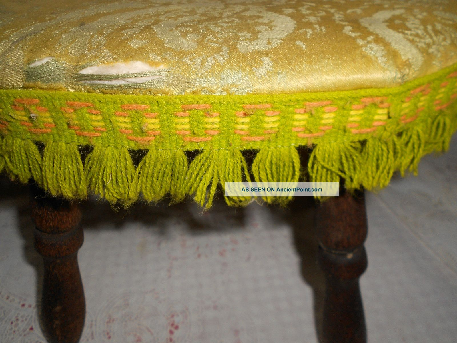 Antique Wooden Stool Deco Cover Orange Green & Gold W/fringe Shabby French Chic Unknown photo